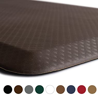 KANGAROO BRANDS Original 3/4  Anti Fatigue Comfort Standing Mat Kitchen Rug, Phthalate Free, Non-Toxic, Waterproof, Ergonomically Engineered Floor Pad, Rugs for Office Stand Up Desk, 32x20 (Brown)