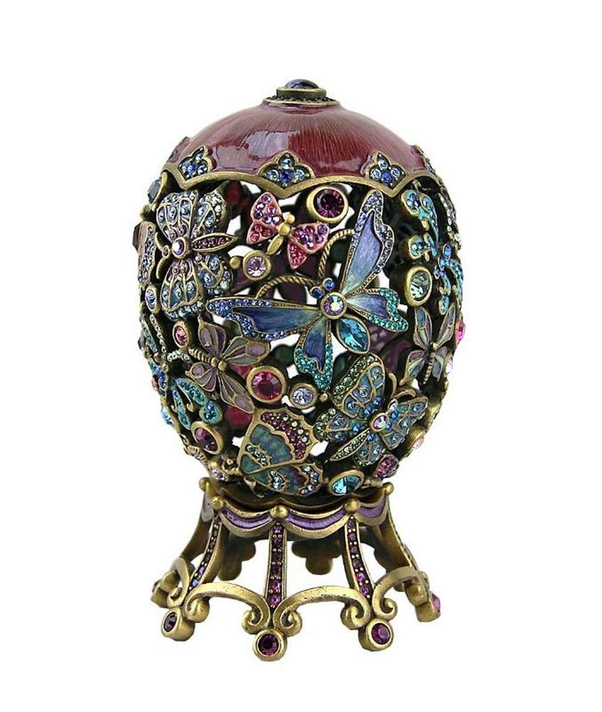 Jay Strongwater Butterfly Egg with Swarovski Crystals and Stand