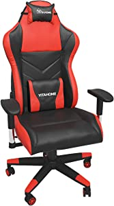 YITAHOME Gaming Chair Racing Office Computer Game Chair Ergonomic High Back PU Leather Desk Chair with Massage Lumbar Support, Deluxe Red