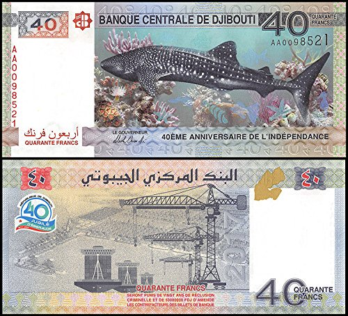 40 Francs Djibouti Banknotes,2017,P-NEW,UNC, 40th Anniversary of Independence - Rare limited Francs Pick