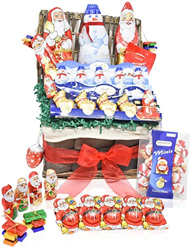 Lindt Christmas Chocolate Variety Gift Basket - Lindt, Santa's, Snowmen, Reindeer and more Christmas Specials - Mixed Gift Pack for Family, Friends