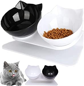 Cilkus Cat Double Food Bowl Pet Food Bowl with Raised Stand Pet Feeding Bowl Perfect for Cats and Small Dogs (Black-White Bowl)