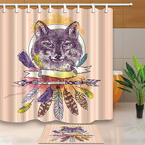 HiSoho Kids Hand Drawn Decor,Portrait of Wolf in Boho Style with Feather,71X71in Resistant Polyester Fabric Shower Curtain Suit with 15.7x23.6in Flannel Non-Slip Floor Doormat Bath Rugs