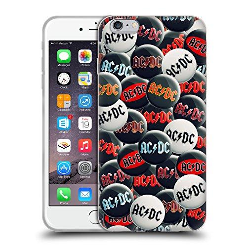 Officiel AC/DC ACDC Noir Et Blanc Épingles De Bouton Étui Coque en Gel molle pour Apple iPhone 6 Plus / 6s Plus