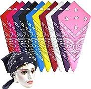 KUUQA 10Pcs Paisley Bandanas Assorted Cowboy Bandanas Unisex Novelty Print Head Wrap Scarf Wristband for Adult