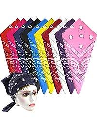 KUUQA 10Pcs Paisley Assorted Cowboy Bandanas Unisex Novelty Print Head Wrap Scarf Wristband for Adults and Kids (10 Colors)