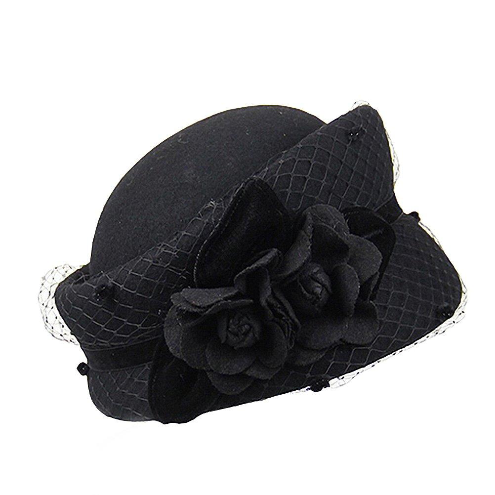 Maitose Women's Decorative Flowers Wool Beret Black