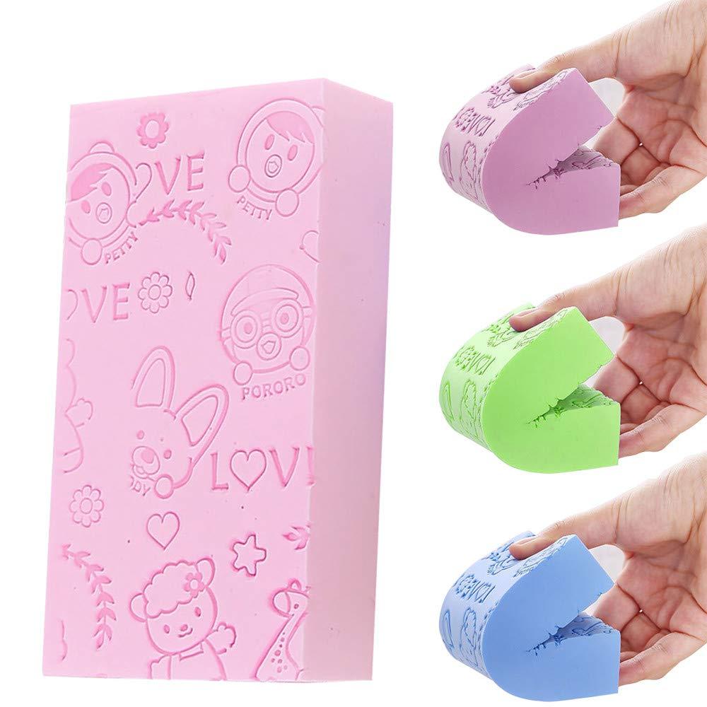 Aobiny Baby Bath Sponge, Baby Bath Foam Rub Shower Sponge, Soft Cotton Scrubber Bath Brush Rubbing Towel for Toddler Infant Newborn (Pink)
