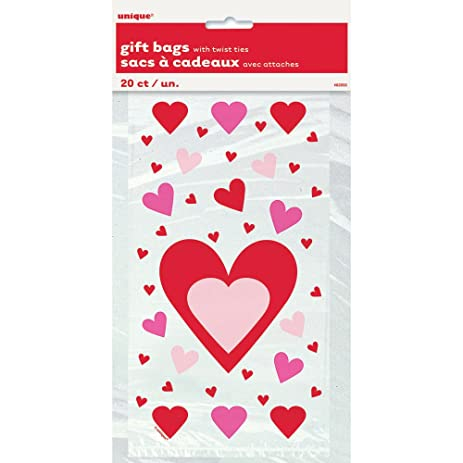 hearts valentines day cellophane bags