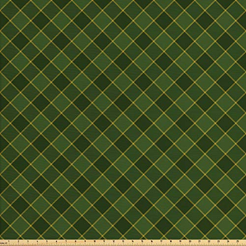 Lunarable Green Fabric by The Yard, Traditional Old Fashioned Argyle Pattern Retro Style Plaid, Decorative Fabric for Upholstery and Home Accents, 2 Yards, Hunter Green Forrest Green -