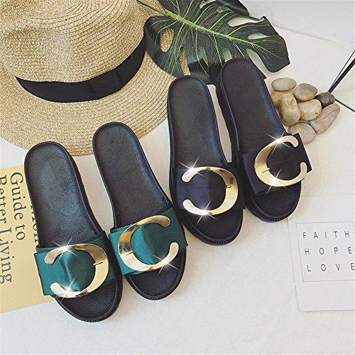 Platform Slip Wheeler On Sandal Heel Women Queena Slipper Sandals Shoe High Black Open Wedge Toe Sandal IBOq7