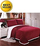 Elegant Comfort Luxury Micro-Sherpa Ultra Plush Warm Heavy-Weight Wave Pattern Blanket, Full/Queen, Burgundy