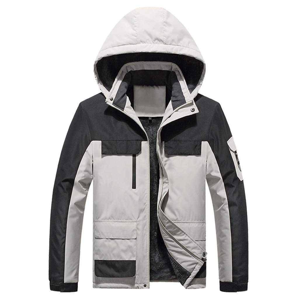 Men's Outdoor Jacket Windproof Waterproof Sportswear Hooded Zip Up Fleece Rain Coat for Traveling Climbing Hiking (XXL, White) by Moxiu Men's Coat