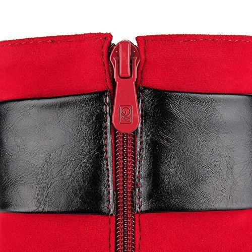 AllhqFashion Damen Reißverschluss Hoher Absatz Gemischte Farbe Stiefel mit Anhänger Rot