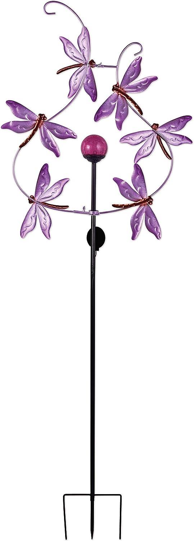Sunset Vista 93534 Bright Metal Garden Stake Solar Spinner, 81-Inch, Dragonfly