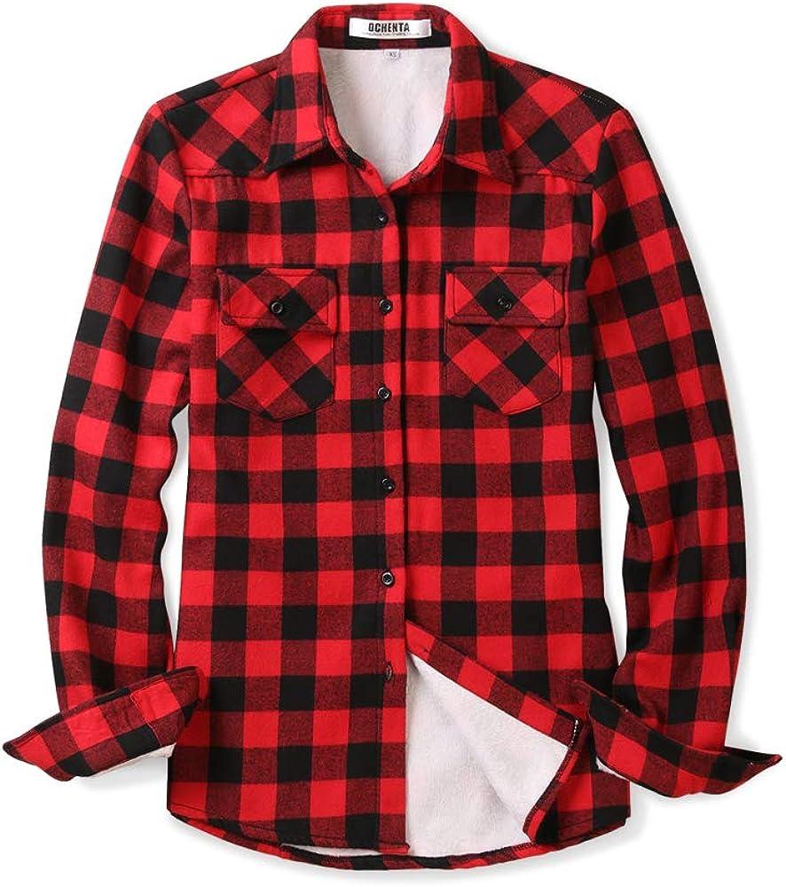 OCHENTA - Camisa de Franela con Forro Polar para Mujer - - X-Small: Amazon.es: Ropa y accesorios