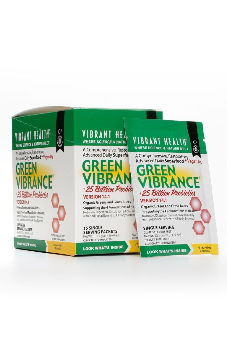 Vibrant Health - Green Vibrance, Plant-Based Daily Superfood + Probiotics and Digestive Enzymes, 15 packets