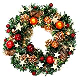 naler christmas wreath garland, 13 inches traditional luxury merry christmas poinsettia pine wreath