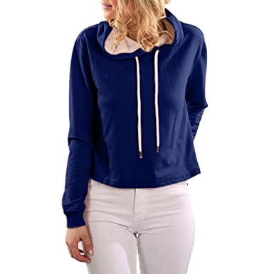 0f4755c7f929 Weant Felpe Cappuccio da Donna Maglione Magliette Crop Top Ragazza Vestiti  di Tumblr Maglia Pullover Camicetta Maglietta Maniche Lunghe Donna Elegante  ...