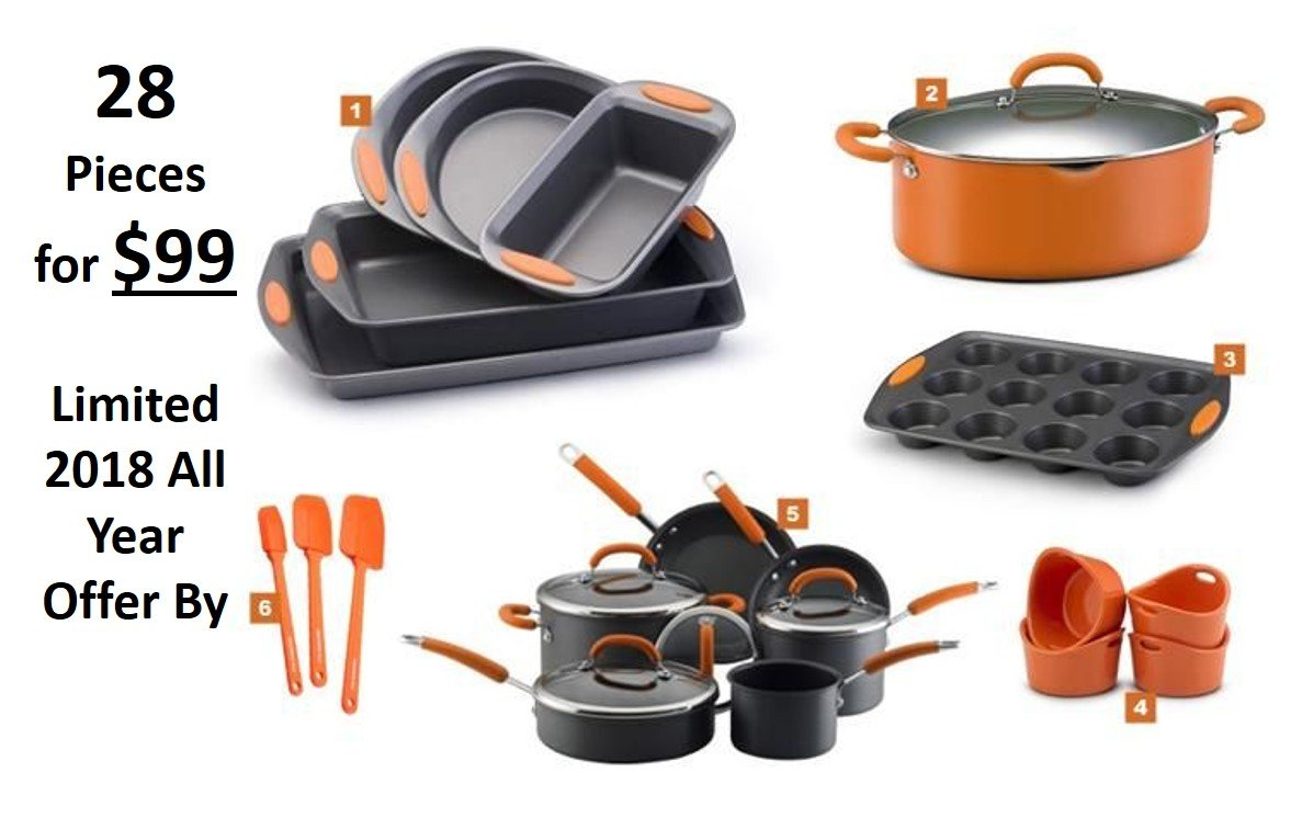Premium 15 Piece Cookware Set Nonstick Coating with Utensils Spatula Slotted Spaghetti Spoons Masher and Soup Ladle, Glass Lid