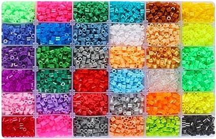 amazon.com: kehuahsina children diy toys midi fuse beads size 5mm 4800pcs  24 color plastic box with 2pcs ironing paper perler beads: toys & games  amazon