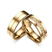 Bishilin 18K Gold Plated Wedding Rings Set For Him And Her With Cubic Zirconia Inlaid 2Pcs Set