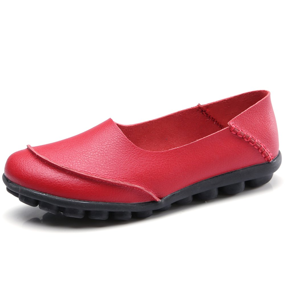 KISFLY Women Casual Flat Shoes - Comfort Round Toe Leather Walking Driving Slip-on Loafers Red Size 9.5