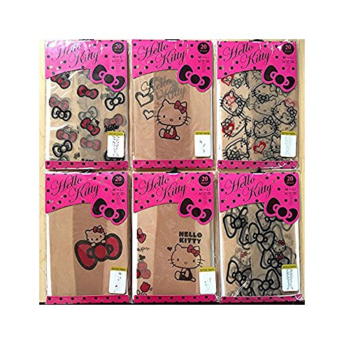 Hello Kitty Tights Stocking / Hosiery Sheer Stocking Set of 6 Pairs (Size for (Hello Kitty Custome)