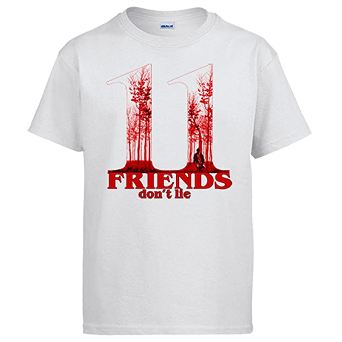 Diver Camisetas Camiseta Stranger Things Friends Dont Lie Eleven póster árboles Once - Blanco, S