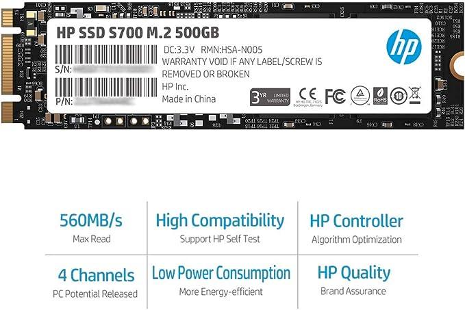 Hewlett Packard 2LU80AA#ABB - Disco Duro Interno SSD de 500 GB ...