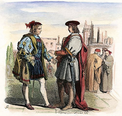 Shakespeare Two Gentlemen The Two Gentlemen Valentine And Proteus Meet In A Piazza In Verona (Act I Scene 1) From William ShakespeareS The Two Gentlemen Of Verona Engraving After Sir John Gilbert C186 (Two Gentlemen Of Verona Act 1 Scene 2)