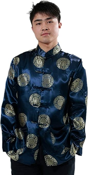Comfortable Blue Chinese Men/'s Silk Kung fu Suit Pajamas SZ M L XL 2XL 3XL