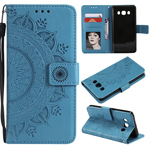 Galaxy J7 2016 Floral Wallet Case,Galaxy J7 2016 Strap Flip Case,Leecase Embossed Totem Flower Design Pu Leather Bookstyle Stand Flip Case for Samsung Galaxy J7 2016-Blue by Leecase