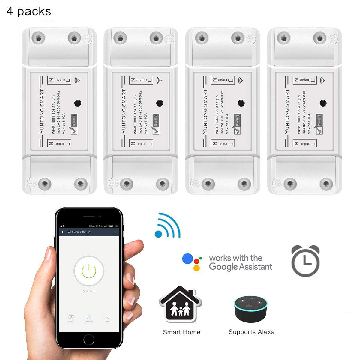 WiFi Smart Switch Compatible with Alexa Google Home Voice Control AOZBZ Wireless Relay Switch Module DIY Your Smart Home with Countdown Timer Function for iOS Android AC 90-250V 2200W (4 Pack)