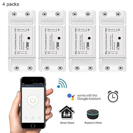 WiFi Smart Switch Google Home y App Controlar, AOZBZ Inalámbrico Relé Interruptor Módulo DIY Su