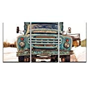 wall26 - 3 Piece Canvas Wall Art - Old Vintage Rusty Soviet-Style Blue Truck - Modern Home Decor Stretched and Framed Ready to Hang - 16 x24 x3 Panels