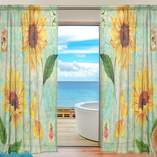 Vintage Painting Butterfly Sunflowers Sheer Curtain for Living Room Bedroom,55 x 84 Inches Long,Green,Window Treatments,Rod Pocket,Polyester Fabric,Set of 2 (Butterfly Patio Set)