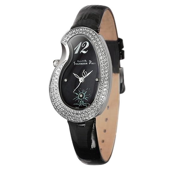 Auca 61 By Salvador Dali DCA002ZBA - Reloj de mujer de cuarzo, correa de piel color negro: Amazon.es: Relojes