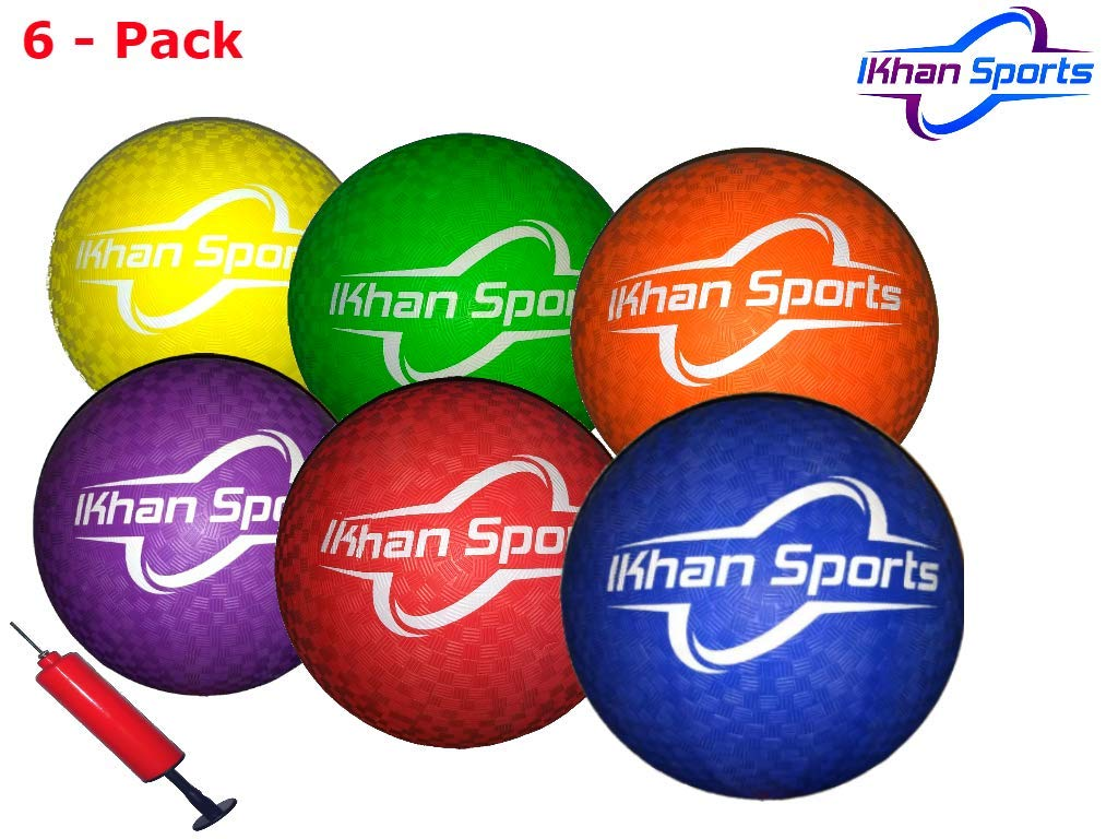 ikhan Sports Dodgeball Balls - Six Pack with Mesh, Pump and Needle by ikhan Sports