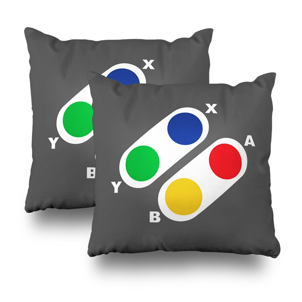 ONELZ Console Games Controller For Gamer Square Decorative Throw Pillow Case, Fashion Style Zippered Cushion Pillow Cover (18X18 inch,Set of 2)