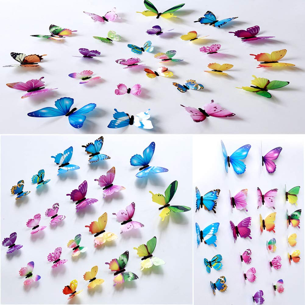 Wall Decals Butterfly 3D Sticker Decor - 72PCS Home Decoration for Living Room, Kids and Teen Girls Removable Mural Wall Art, Baby Nursery Bedroom Bathroom, Waterproof DIY Crafts by Ewong (Image #3)