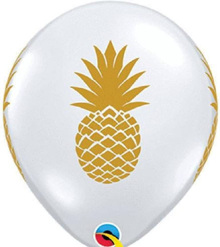 10 Pineapple Latex Balloons New Clear with Gold Print Luau Beach Party Favors Decor Welcome