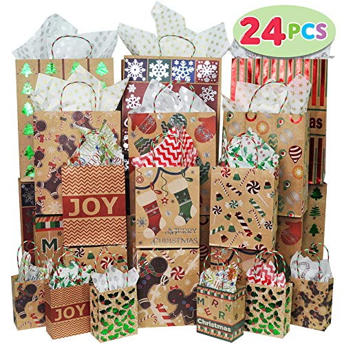 JOYIN 24 Christmas Foil Kraft Gift Bags Assorted Sizes with Twine Handles for Xmas Holiday Present Wrap Décor, Kraft Goody Bags, School Classroom Party Favor Supplies, Goodie Bags Decoration.