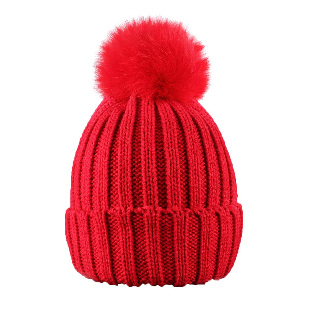 ElifeAcc 2018 Warm Winter Fur Hat Knitted Pom Pom Beanie Bobble Hats for Outdoor Camping Ski caps