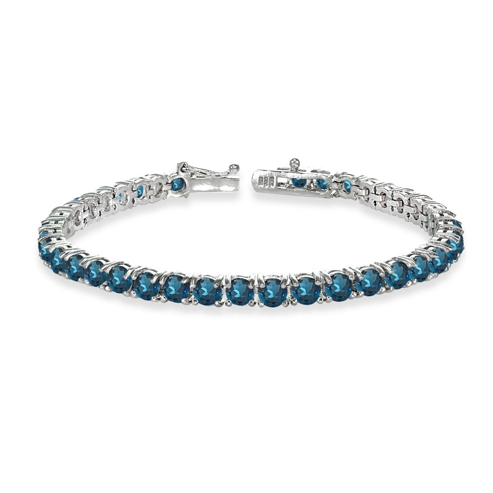Sterling Silver 4mm London Blue Topaz Round-cut Tennis Bracelet