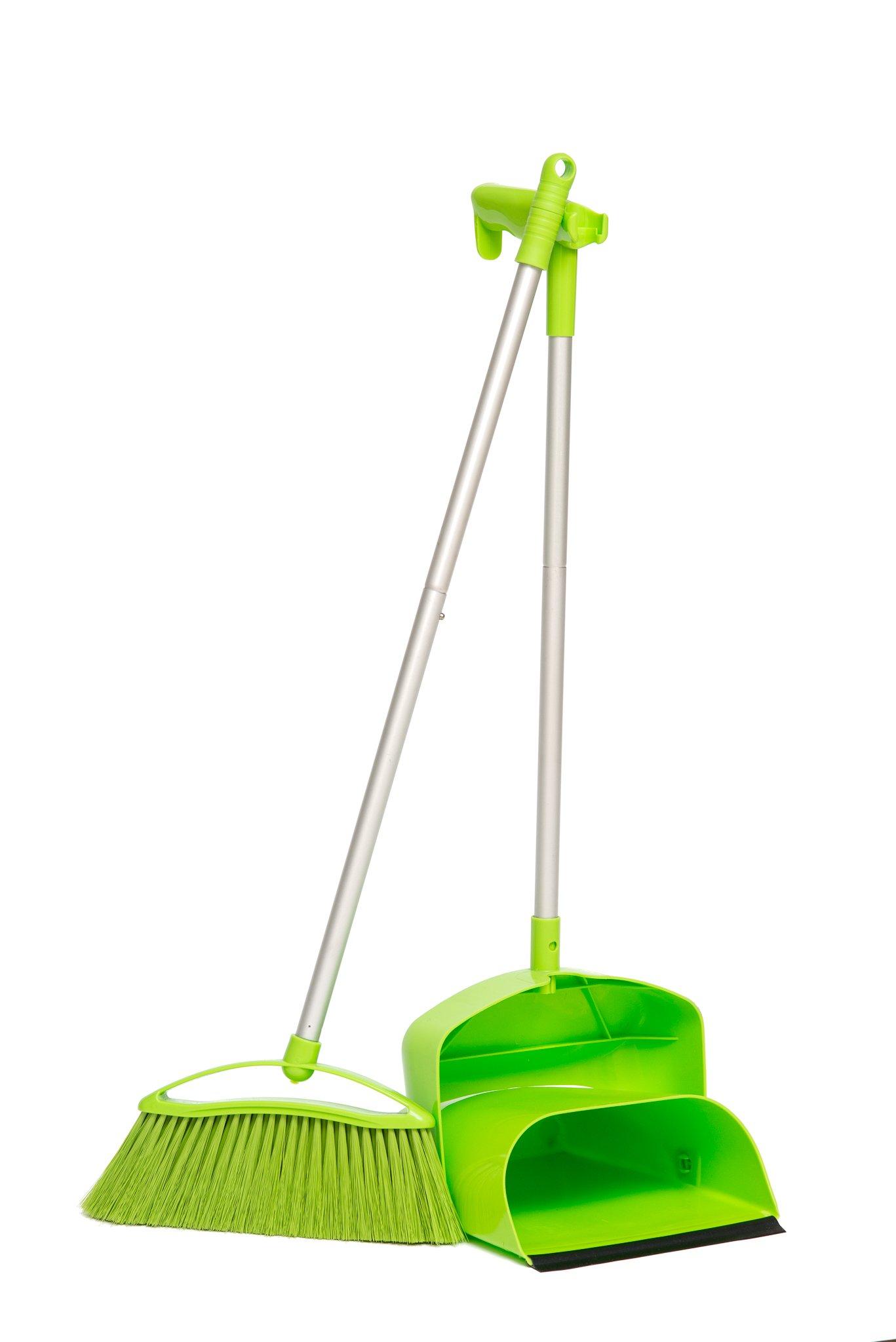 PortoTrash Upright Foldable Dustpan and Broom Set, Green