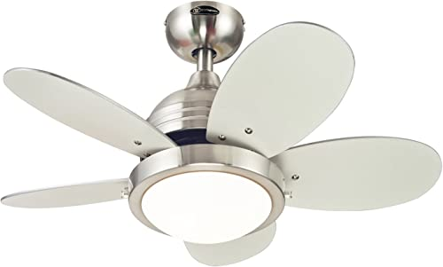 Westinghouse Lighting 7247500 Roundabout Indoor Ceiling Fan with Light, 30 Inch, Brushed Nickel