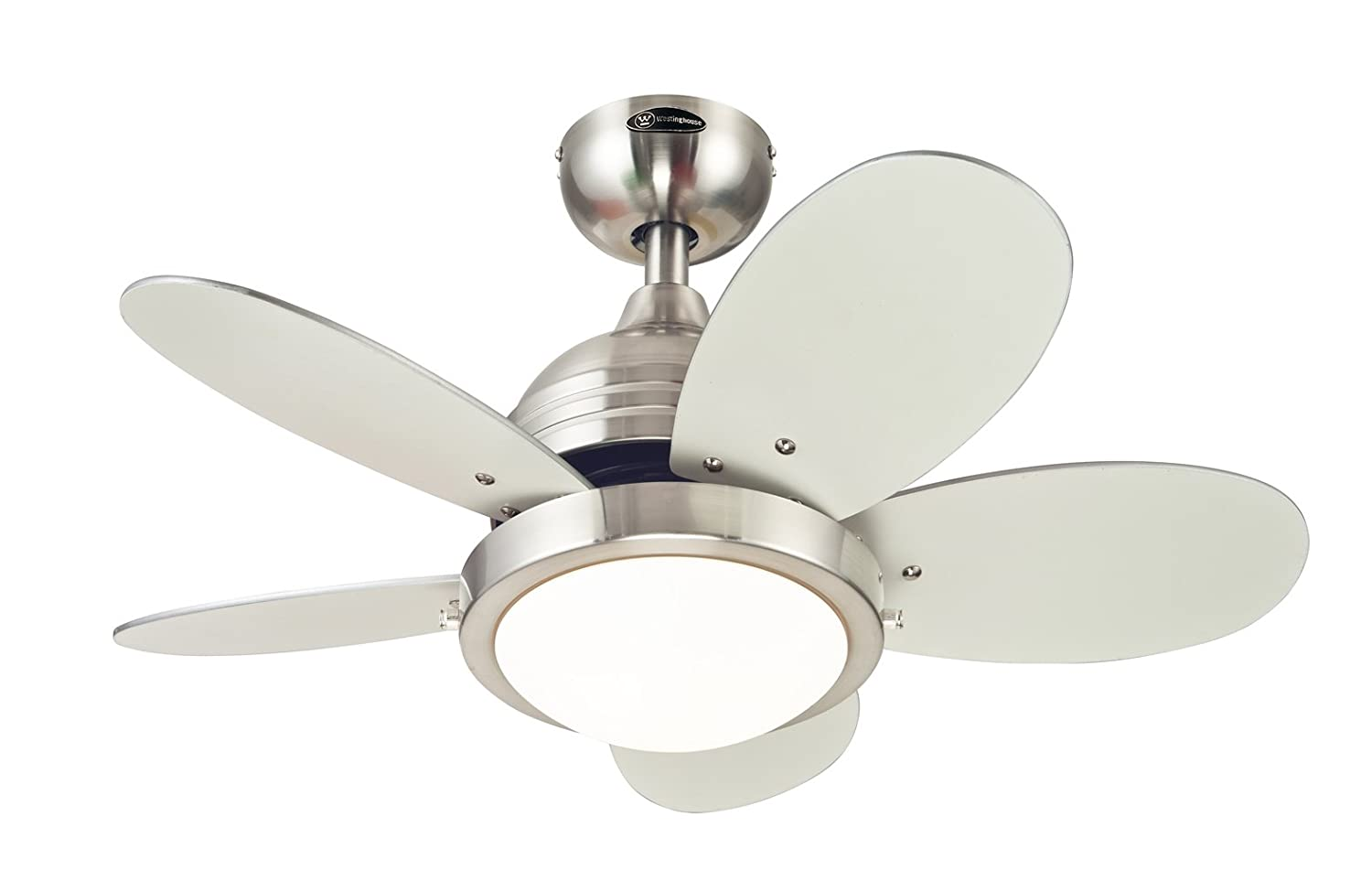 Roundabout Inch Brushed Nickel Indoor Ceiling Fan Light - White kitchen ceiling fan with light