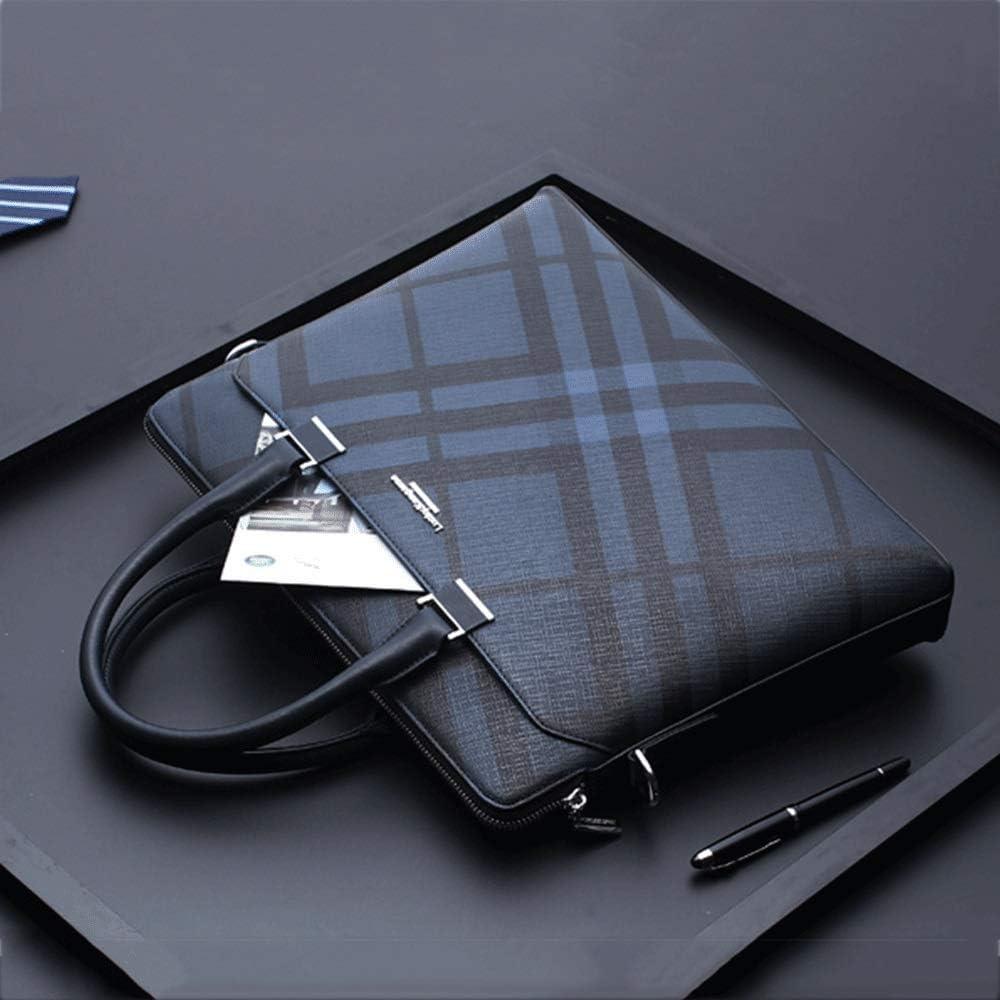 PVC Business Mens Laptop Bag Briefcase Handbag Messenger (Blue)