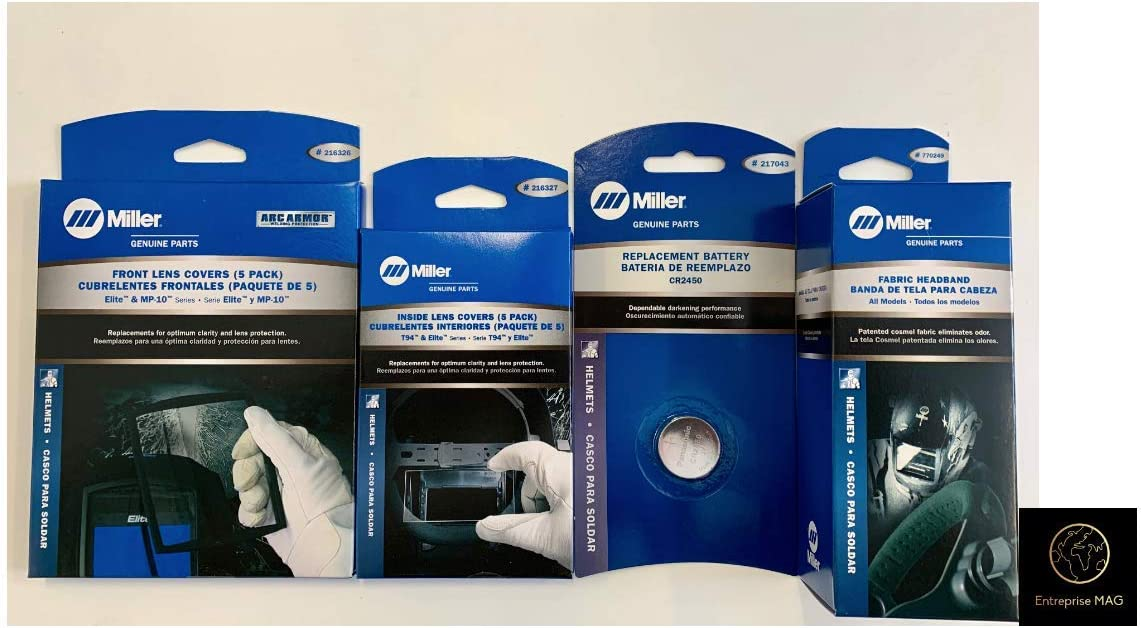 Headband 770249 and 2 Replacement Batteries 217043 Combo Miller Electric Cover Lens Elite /& MP-10 Series 216326-216327